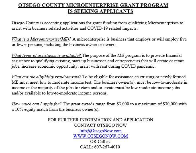 Otsego County Microenterprise Grant Program is Seeking Applicants